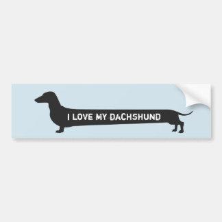 """Adesivo Para Carro """"Eu amo silhueta bonito do cão do meu dachshund"""""""