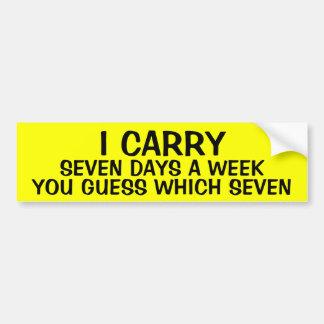 Adesivo Para Carro EU LEVO 7 dias por semana