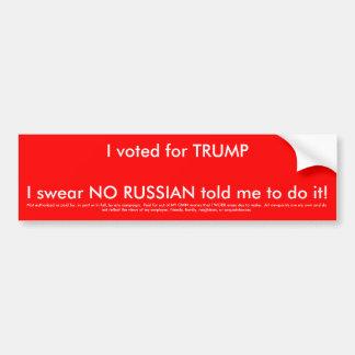 Adesivo Para Carro Eu votei para o trunfo e nenhum russo disse-me a