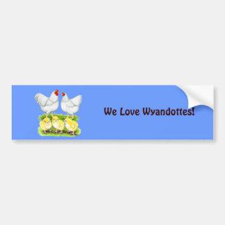 Adesivo Para Carro Família branca da galinha de Wyandotte