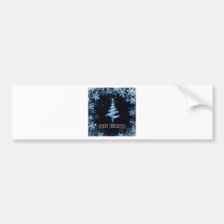Adesivo Para Carro Fundo azul dos flocos de neve da árvore do Feliz
