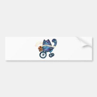 Adesivo Para Carro gato cósmico na bicicleta
