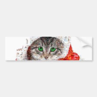 Adesivo Para Carro gato de Papai Noel - colagem do gato - gatinho -