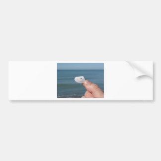 Adesivo Para Carro Guardarando um seashell na mão com mar azul
