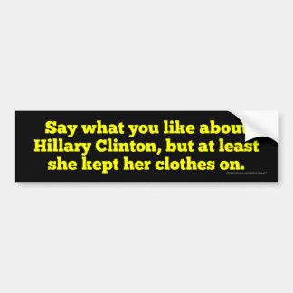 Adesivo Para Carro Hillary Clinton manteve-a roupa sobre