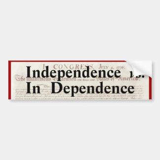 Adesivo Para Carro Independência contra na dependência política