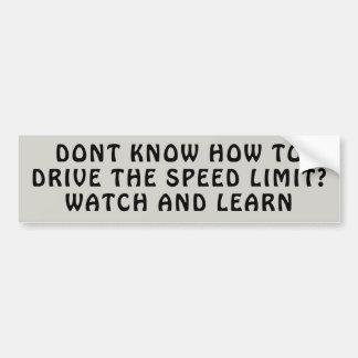 Adesivo Para Carro Leasons do limite de velocidade. Olhe e aprenda