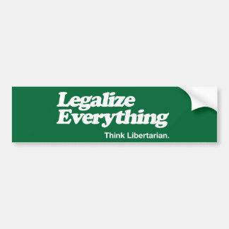 Adesivo Para Carro Legalize tudo pensam a vara do pára-choque do