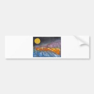 Adesivo Para Carro Lua amarela sobre a paisagem metamórfica