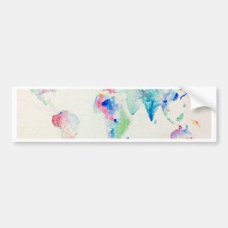 Adesivo Para Carro mapa do mundo da cor de água