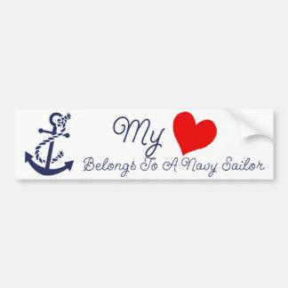 Adesivo Para Carro Meu coração pertence a um marinheiro do marinho