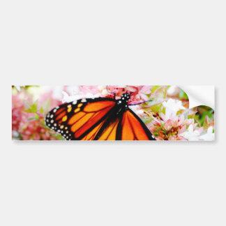 Adesivo Para Carro Monarca alaranjado em flores cor-de-rosa