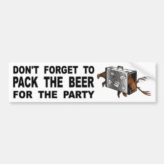 Adesivo Para Carro Não esqueça embalar a cerveja para o partido