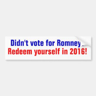 Adesivo Para Carro Não votou para Romney? Redeem em 2016