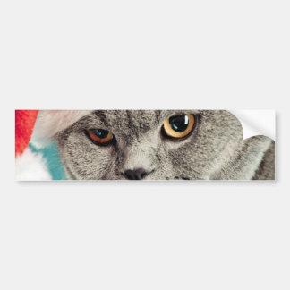 Adesivo Para Carro Natal cinzento do gato - gato do Natal - gato do