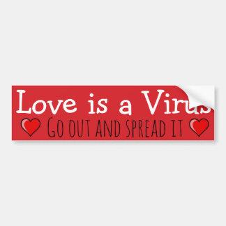 Adesivo Para Carro O amor é um vírus: Saia e espalhe-o!