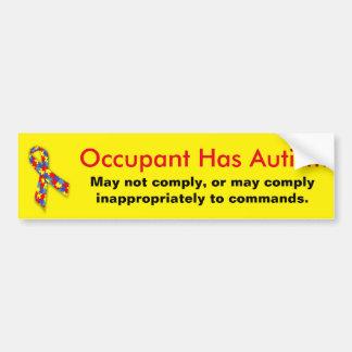Adesivo Para Carro O ocupante tem o cuidado do autismo