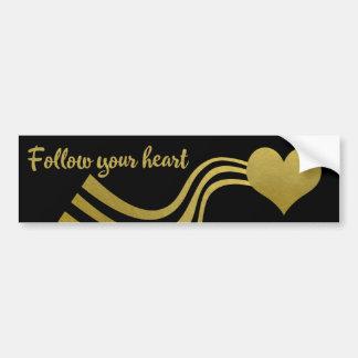 Adesivo Para Carro O ouro do falso no preto segue seu coração