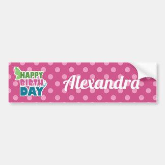 Adesivo Para Carro O rosa do feliz aniversario pontilha etiquetas do