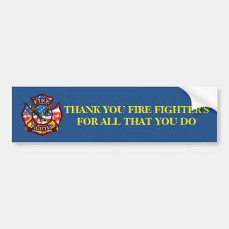 Adesivo Para Carro Obrigado bombeiro para tudo que você faz