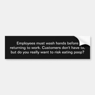 Adesivo Para Carro Os empregados devem lavar as mãos. Sinal do