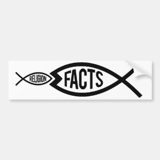Adesivo Para Carro Os fatos são maiores do que a religião -