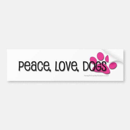 Adesivo Para Carro paz, amor, cães