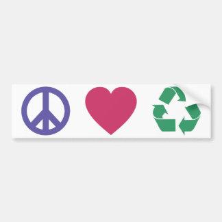 Adesivo Para Carro Paz, amor, recicl