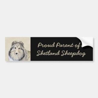 Adesivo Para Carro Pintura do Sheepdog de Shetland - arte original