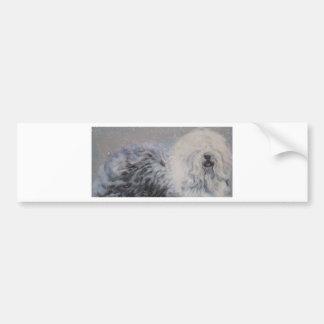 Adesivo Para Carro Pintura inglesa velha do SheepDog do inverno