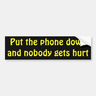 Adesivo Para Carro Pnha o telefone para baixo e ninguém obtem ferido