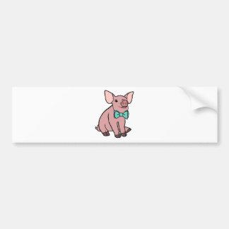 Adesivo Para Carro Porco bonito com um laço