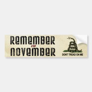 Adesivo Para Carro Recorde em novembro a bandeira de Gadsden
