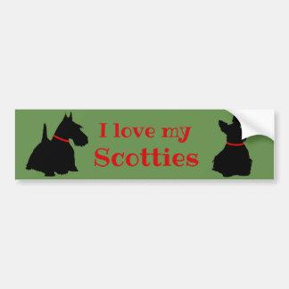 Adesivo Para Carro Scottish Terrier, eu amo meus Scotties/preto