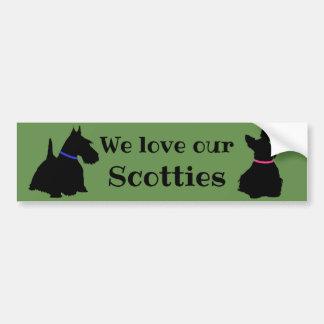 Adesivo Para Carro Scottish Terrier, nós amamos nossos,