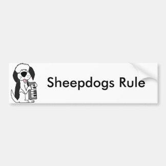 Adesivo Para Carro Sheepdog inglês velho engraçado que joga o teclado