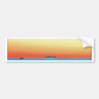 Adesivo Para Carro Silhueta artística bonito do navio do Seascape