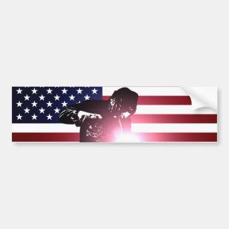 Adesivo Para Carro Soldador e bandeira americana