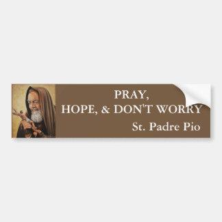 Adesivo Para Carro St. O padre Pio Pray a esperança não se preocupa