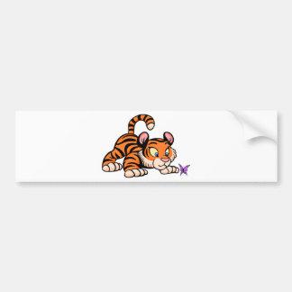 Adesivo Para Carro Tigre de bebê com borboleta