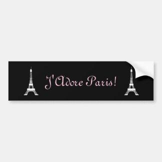 Adesivo Para Carro Torres Eiffel francesas preto e branco chiques do