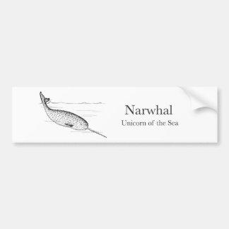 Adesivo Para Carro Unicórnio da baleia de Narwhal do mar