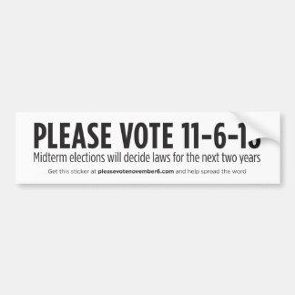 Adesivo Para Carro Vote por favor o 6 de novembro