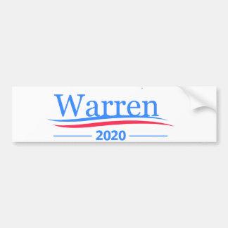 Adesivo Para Carro Warren para o presidente 2020, branco clássico de