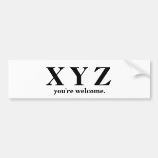 Adesivo Para Carro X, Y, ajuda do jogo de Z ABC!