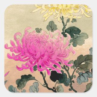 Adesivo Quadrado 土屋光逸 de Tsuchiya Koitsu - 菊 do crisântemo
