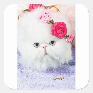 Adesivo Quadrado 11323-158 rosas brancos da princesa Winnie do gato