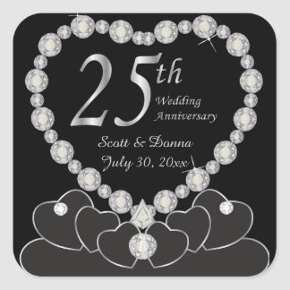Adesivo Quadrado 25o Aniversário de casamento - prata