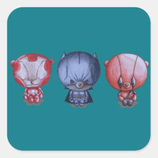 Adesivo Quadrado 3 heróis pequenos