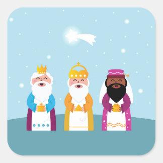 Adesivo Quadrado 3 reis pintados mão